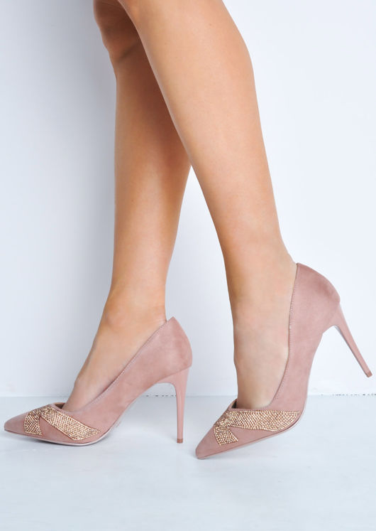 Diamante Faux Suede Pointed Toe Stiletto Heels Pink