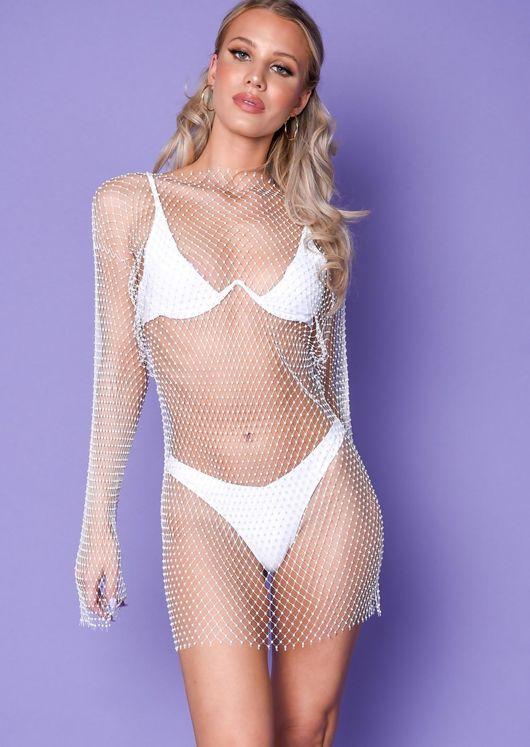 Diamante Fishnet Mini Dress White