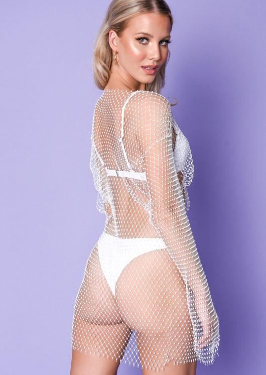 High Neck Diamante Fishnet Mini Dress White