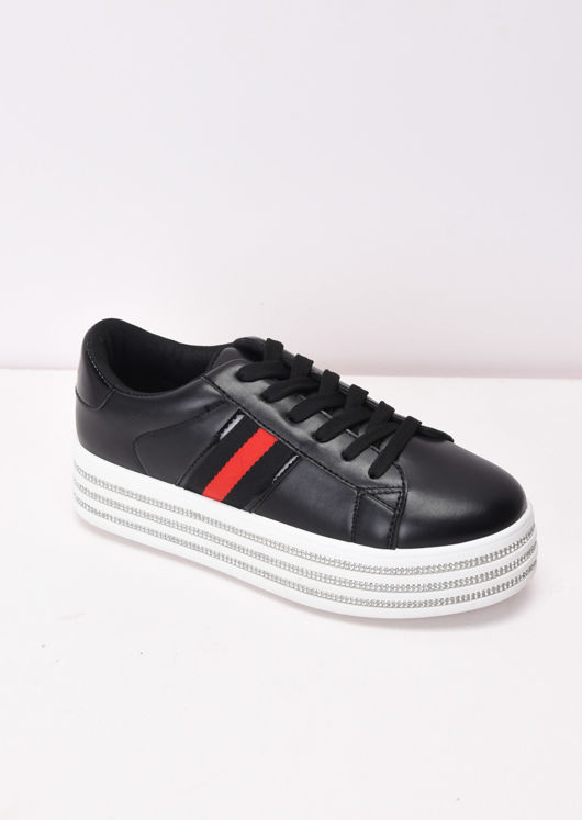 Diamante Flatform Lace Up Trainers Black