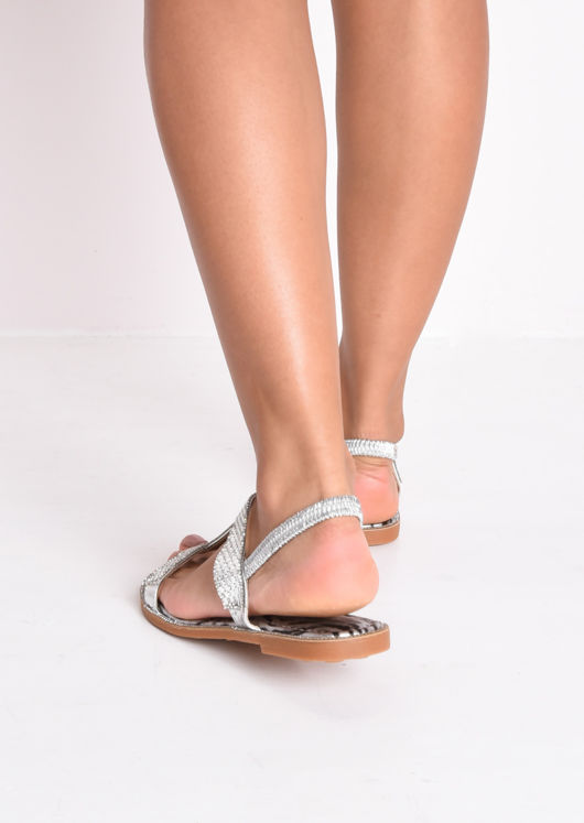 Diamante Gem T Bar Flat Slingback Sandals Silver
