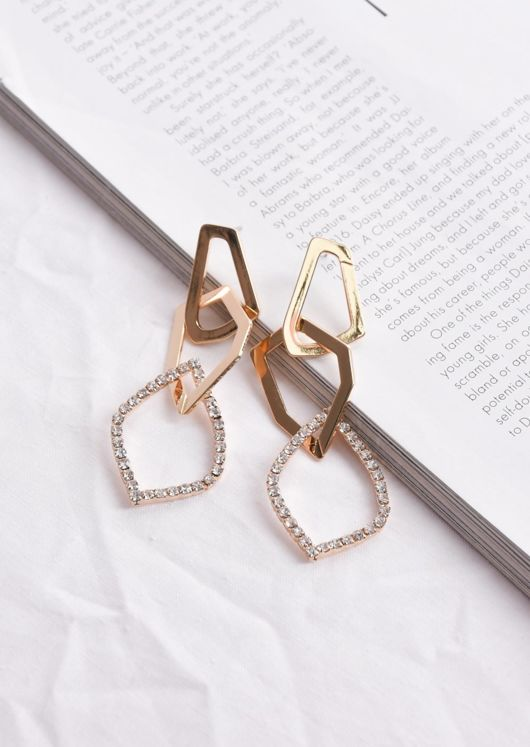 Diamante Geometric Drop Earrings Gold