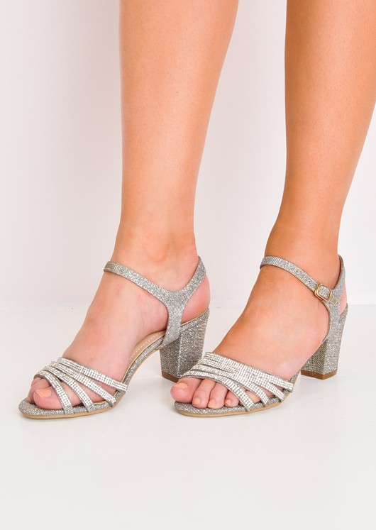 Diamante Glitter Block Heel Sandals Gold