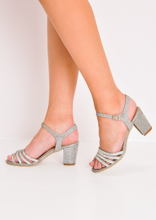 7a5936bea19 Diamante Glitter Block Heel Sandals Silver