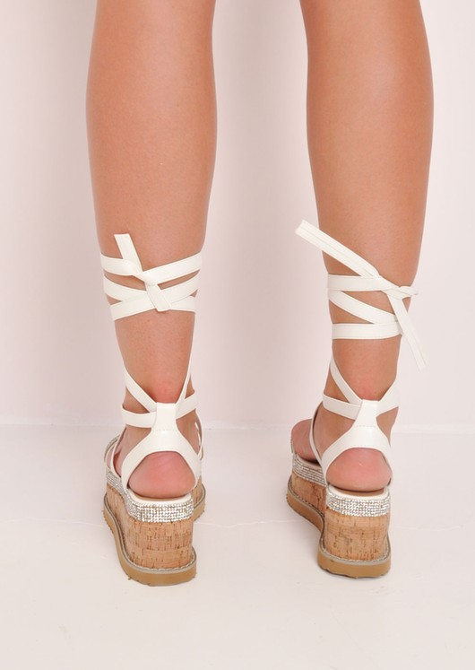 Diamante Lace Up Flatform Espadrille Sandals White