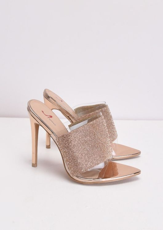 Diamante Perspex Pointed Stiletto Heel Mules Rose Gold