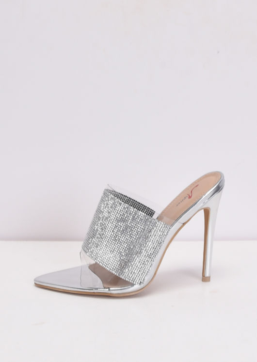Diamante Perspex Pointed Stiletto Heel Mules Silver