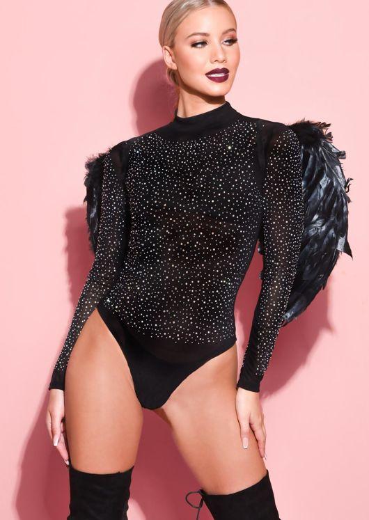 Diamante Sheer Mesh High Neck Bodysuit Black