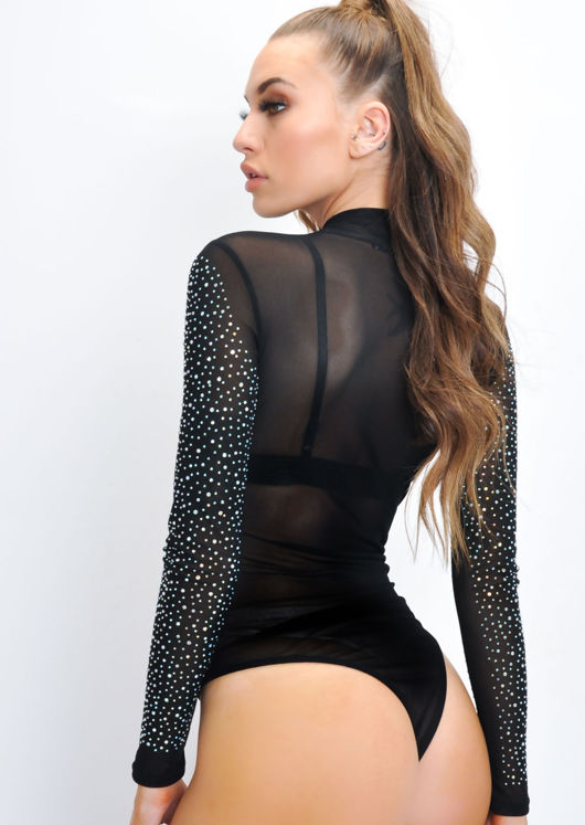 Diamante Sheer Mesh High Neck Bodysuit Black
