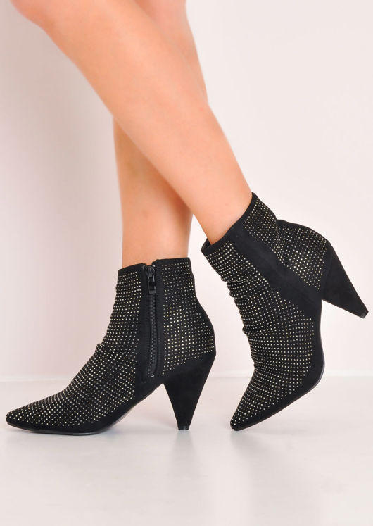 Diamante Studded Suede Cone Heel Pointed Ankle Boot Black