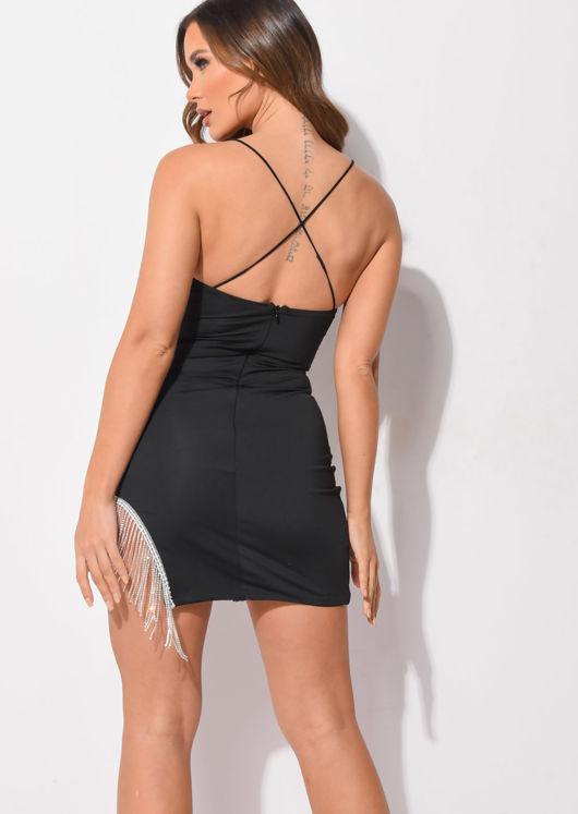 Diamante Tassel Cut Out Cross Strap Mini Dress Black