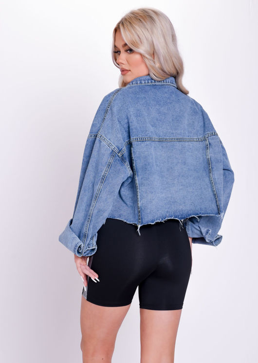 Oversized Frayed Cropped Denim Jacket Blue
