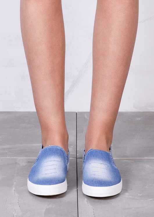 Distressed Denim Slip On Sneaker Pumps Light Blue