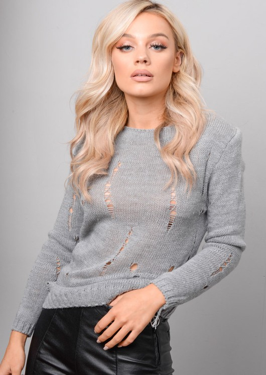 Distressed Ripped Knitted Jumper Grey