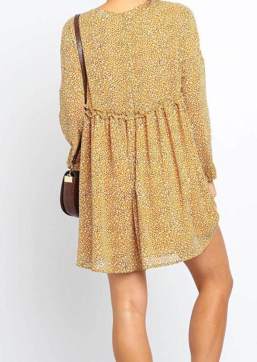 Dot Print Long Sleeve Mid Frill Midi Dress Yellow