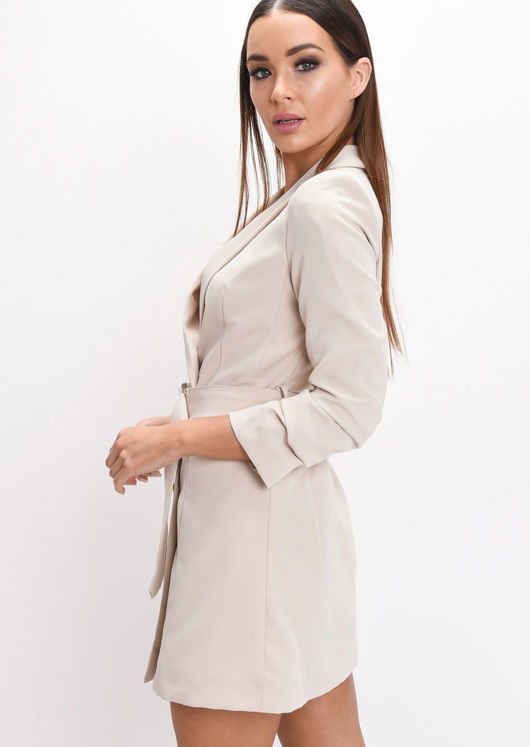 Double Breasted Belted Mini Blazer Dress Beige