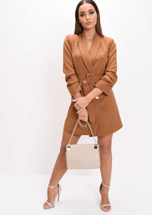 Double Breasted Belted Mini Blazer Dress Brown