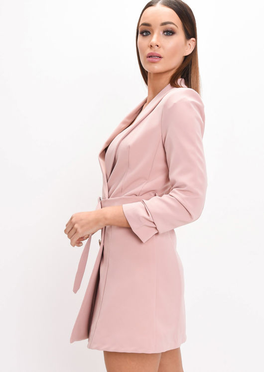 Double Breasted Belted Mini Blazer Dress Pink