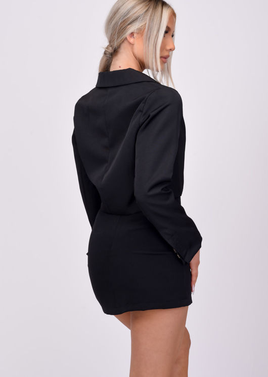 Double Breasted Button Cropped Blazer Black