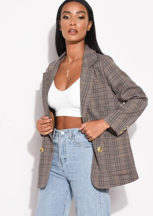 Double Breasted Checkered Blazer Brown