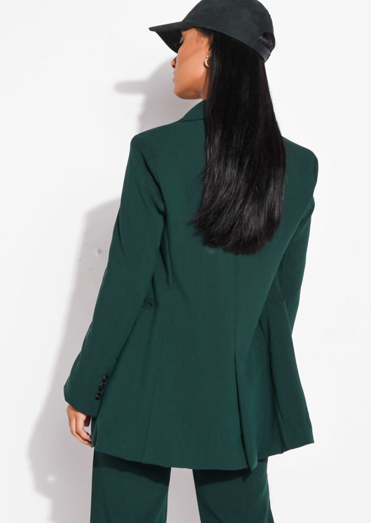 Oversized Boyfriend Double Breasted Longline Blazer Dark Green