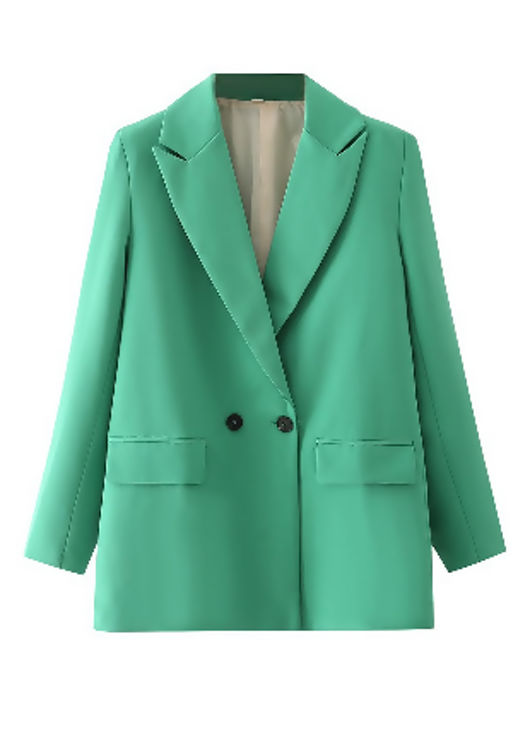 Double Breasted Notch Collared Tailored Blazer Green