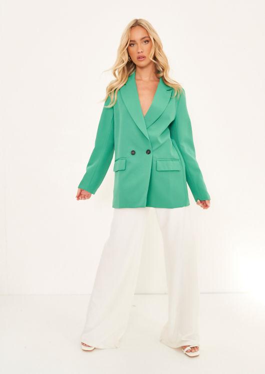 Oversized Double Breast Tailored Blazer Green