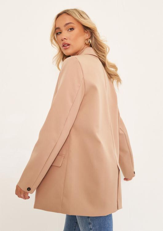 Oversized Double Breast Tailored Blazer Beige