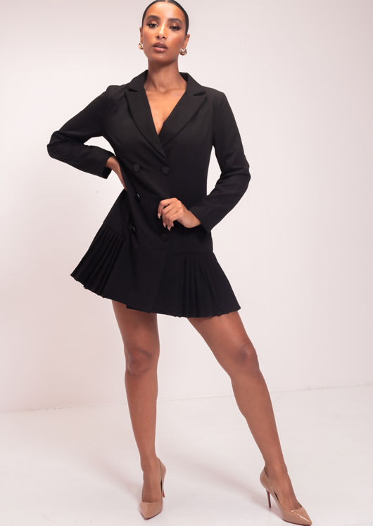Double Breasted Pleated Blazer Dress Black
