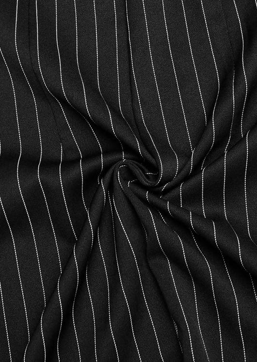 Double Breasted Stripe Print Side Split Zip Line Blazer Dress Black