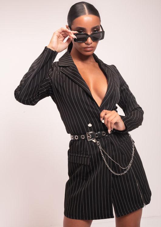 Double Breasted Pinstripe Side Split Zip Longline Blazer Dress Black