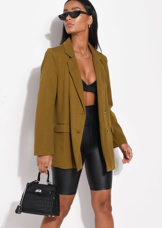 Double Breasted Tailored Blazer Dark Mustard Yellow
