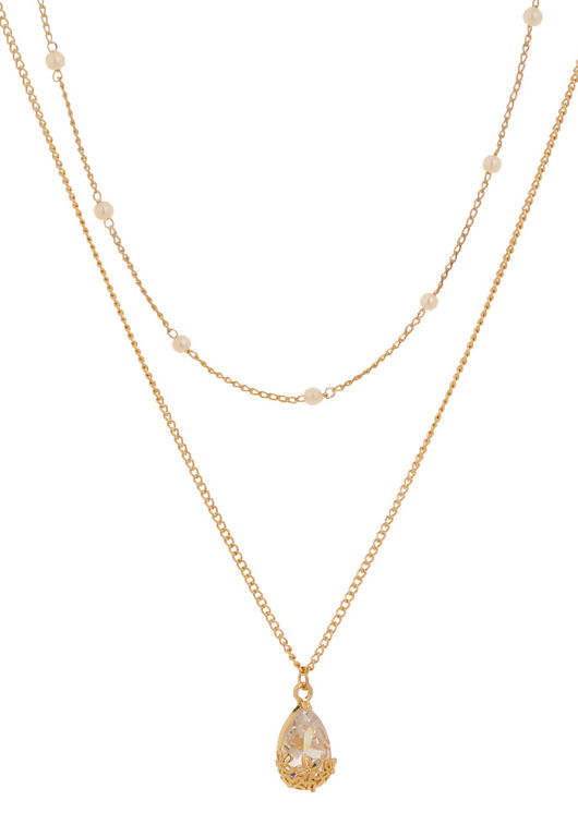 Double Faux Pearl Chained Diamante Floral Pendent Necklace Gold