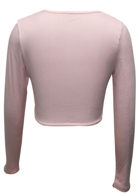Double Front Tie Drawstring Long Sleeve Ribbed Crop Top Pink
