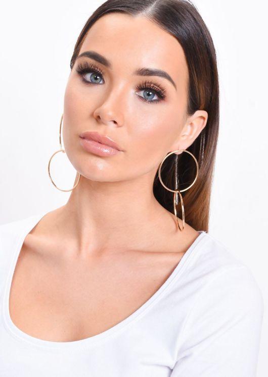 Large Double Hoop Earrings Gold