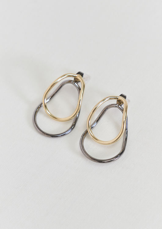 Front And Back Double Hoop Earrings Multi