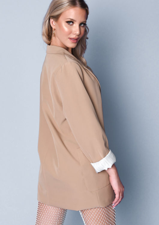 Oversized Double Pocket Boyfriend Blazer Jacket Beige
