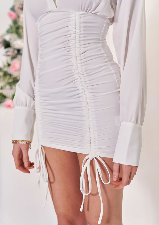 Double Side Ruched Long Sleeve Midi Bodycon Shirt Dress White