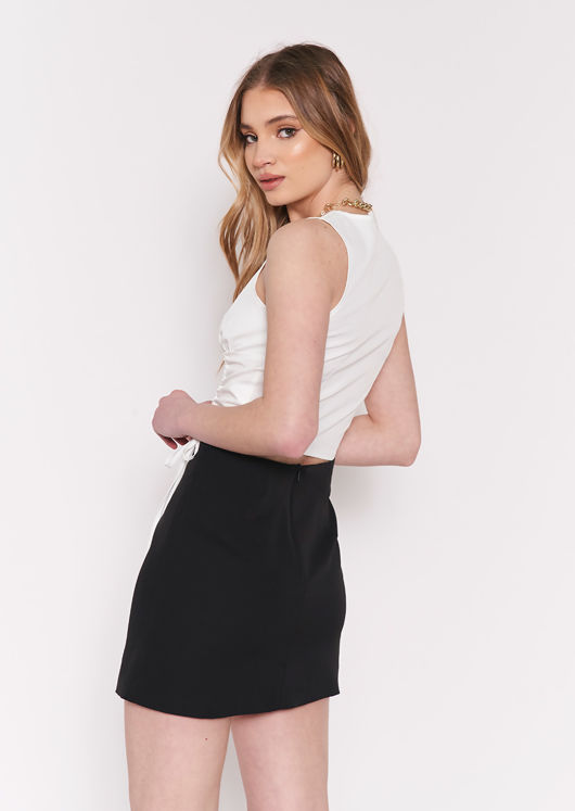 Sleeveless Side Ruched Laced Button Down Crop Top White