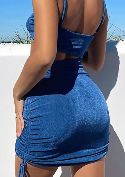 Double Sided Velvet Ruched Drawstring Detail Side Cut Out Mini Dress Blue