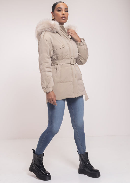 Down Faux Fur Hooded Padded Snap Fastening Puffer Coat Beige
