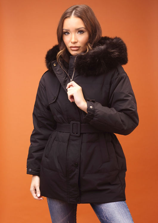 Down Faux Fur Hooded Padded Snap Fastening Puffer Coat Black