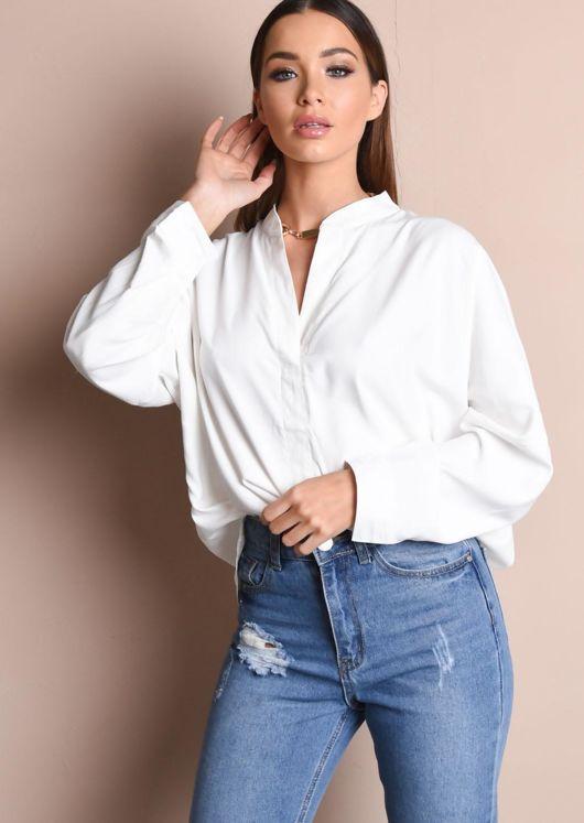 Drape Front Blouse White