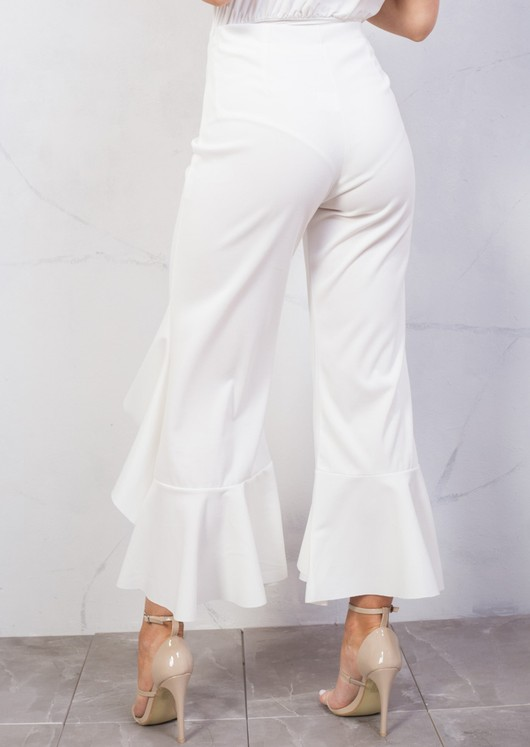 Draped Asymmetrical Frill Cigarette Trousers White