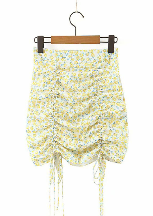 Drawstring Floral Print Ruched Mini Skirt Yellow