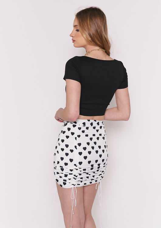 Drawstring Heart Printed Ruched Mini Skirt White