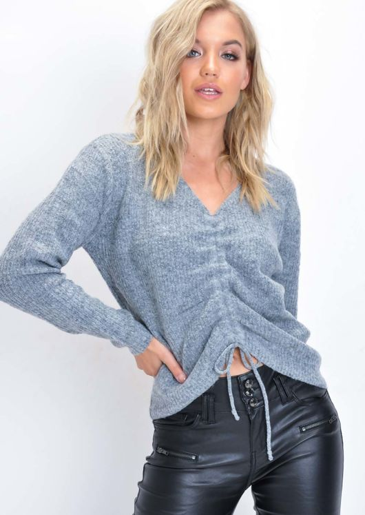 Cropped Drawstring Knitted Jumper Grey