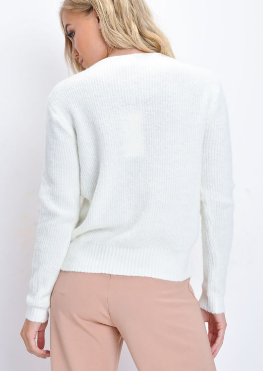 Cropped Drawstring Knitted Jumper White