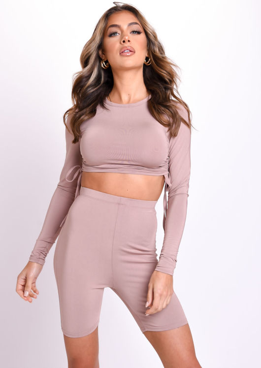 Drawstring Side Ruched Crop Top And Cycling Shorts Co Ord Beige