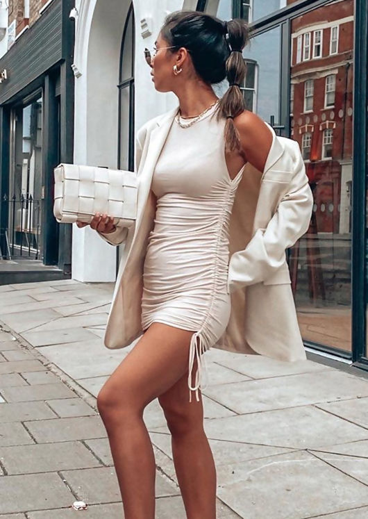 Drawstring Side Ruched Mini Dress Beige